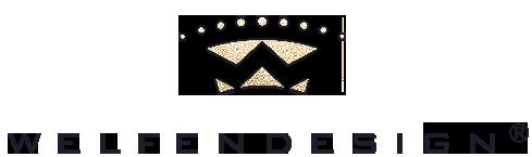 Logo Welfendesign, goldene Krone über dunkelblauem Schriftzug